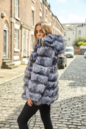 Silver Fox Fur 7 Ring Coat with Hood