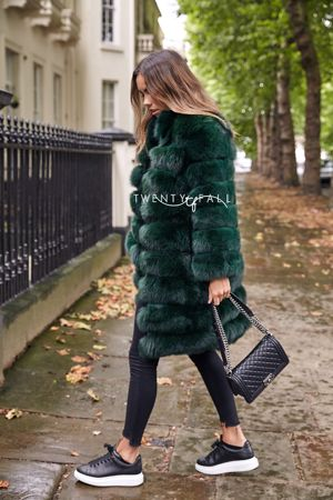 Green 9 Ring Fox Fur Coat with Collar