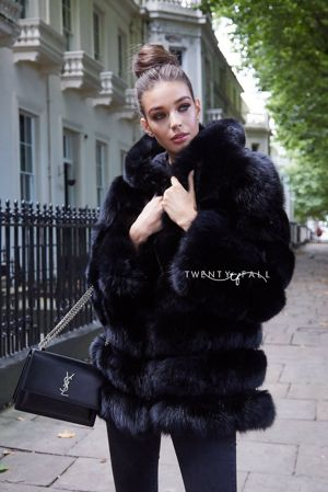 Black 7 Ring Fox Fur Coat with Hood