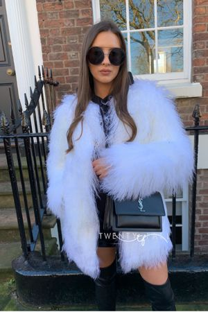 Black Fox Fur Coat Long