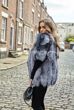 Silver Fox Fur Short Sleeve Coat