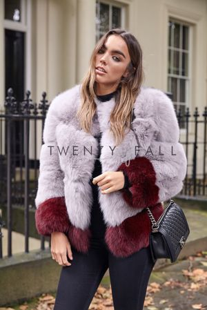 Pale Grey Fox Fur Coat with Wine Red