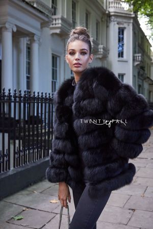Black 7 Ring Fox Fur Coat
