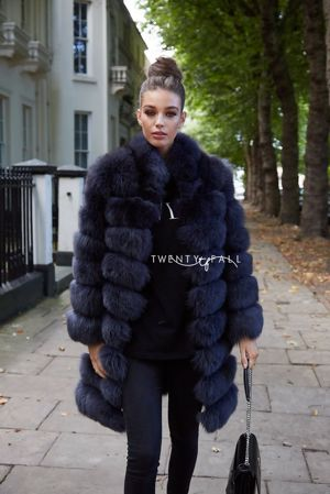 Charcoal 9 Ring Fox Fur Coat with Collar