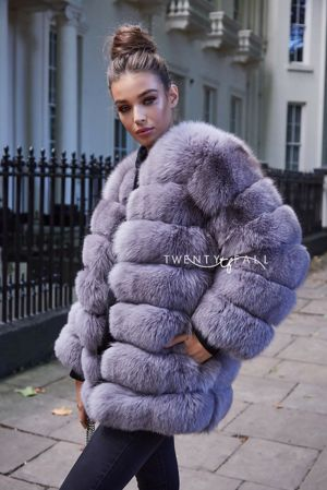 Grey 7 Ring Fox Fur Coat