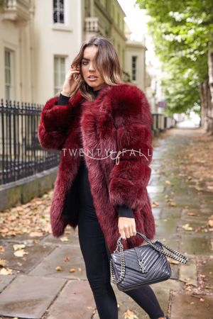 Wine Red Long Fox Fur Coat