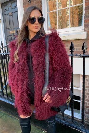 Wine Red Long Mongolian Fur Coat