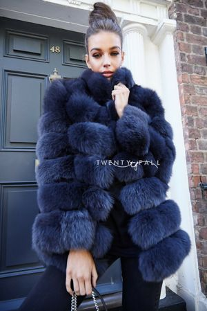 Charcoal 7 Ring Fox Fur Coat with Collar