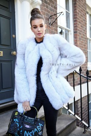 Natural Fox Fur Coat with Full Pelt Fur Sleeves
