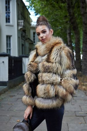 Natural Raccoon Fur 5 Ring Coat with Collar