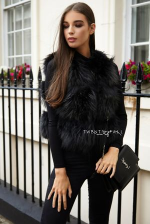 Black Raccoon Fur Gilet