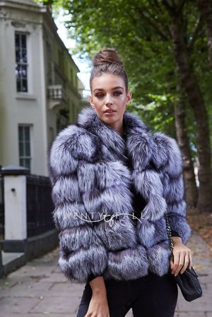 Silver Fox Fur 5 Ring Coat with Collar