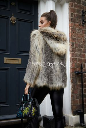 Cross Fox Fur Knitted Coat with Hood