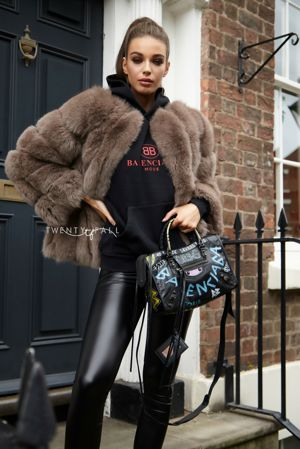 Mocha Cropped Fox Fur Coat