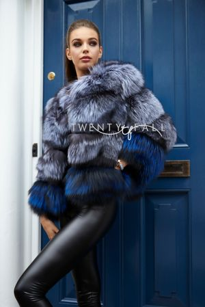 Bella Silver/Blue Fox Fur Coat