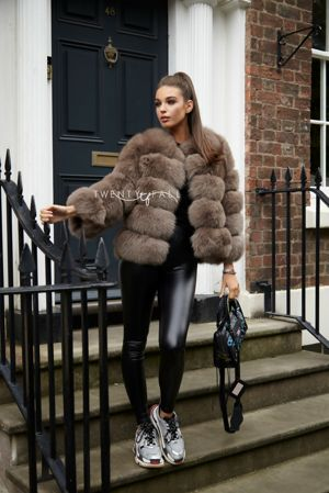 Mocha 5 Ring Fox Fur Coat