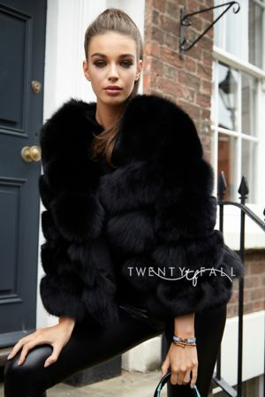 Black 5 Ring Fox Fur Coat