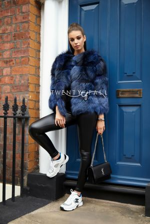 Bella Blue Silver Fox Fur Coat