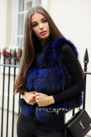 Navy Raccoon Fur Gilet