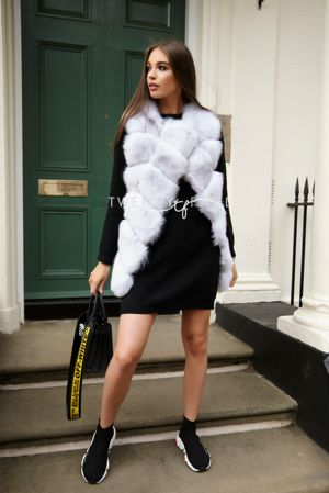 Natural Overlap Fox Fur Gilet