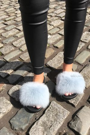 Baby Blue Fox Fur Sliders