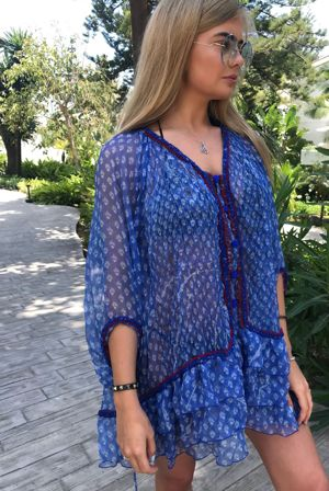 POUPETTE St Barth Bety Blue Vemizia Silk Dress