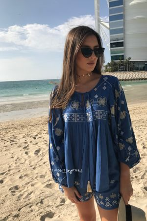 Boho Blue Embroided Top and Short Set