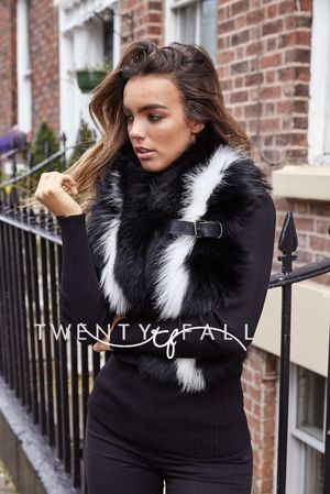 Black Raccoon Fur Scarf with White Stripe