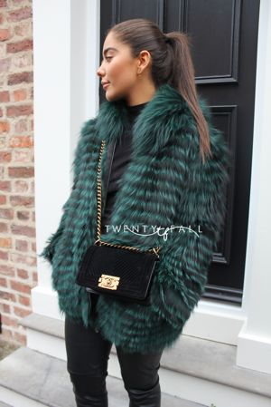 Green Silver Fox Fur Coat with Hood