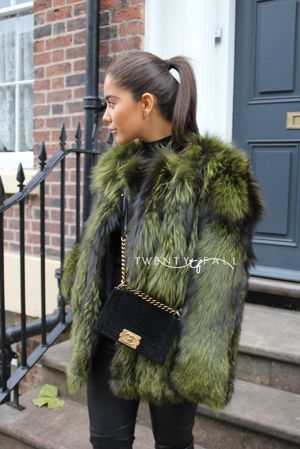 Green Silver Fox Fur Coat with Full Pelt Sleeves