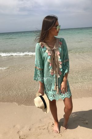 Turquoise Embellished Knit Dress