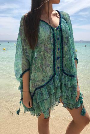 POUPETTE St Barth Bety Green Silk Dress
