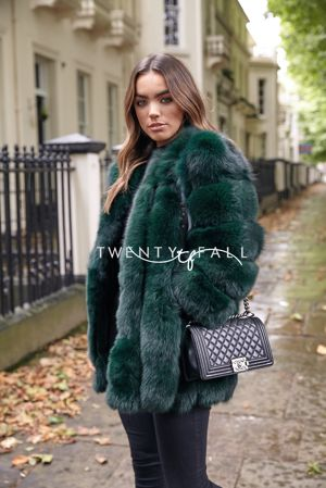 Green Fox Fur Coat Long