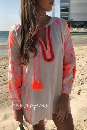 White Beach Dress with Neon Embroidery