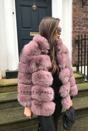 Dusky Pink Fox Fur Coat with Collar