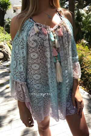 Tie Dye Lace Cold Shoulder Dress with Tassels