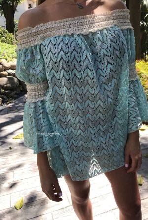 Turquoise Off the Shoulder Mini Dress with Sleeves