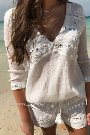 Mirror Embellished Top and Short Set