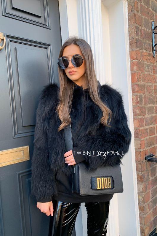 Black Knitted Silver Fox Fur Coat