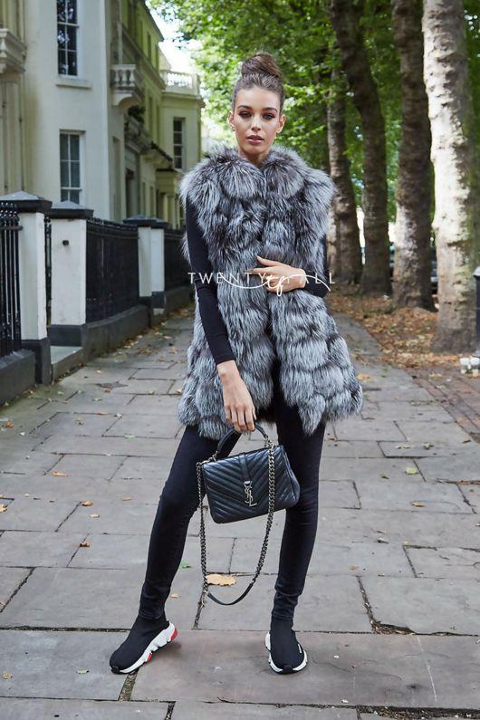 Silver Fox Fur Gilet with Collar