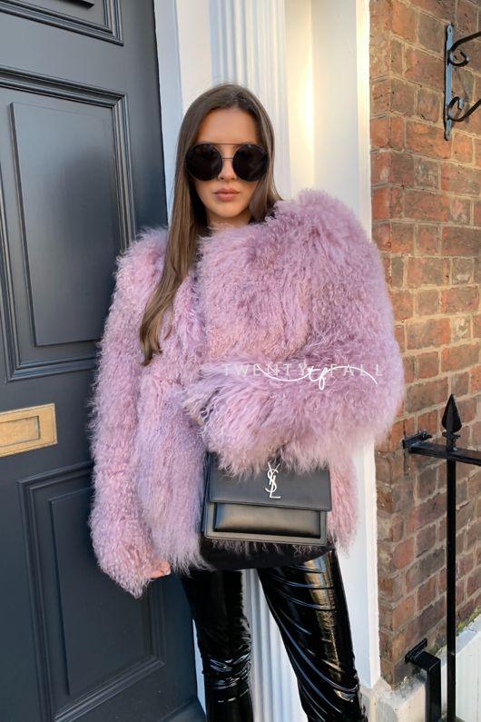 Dusky Pink Cropped Mongolian Fur Coat