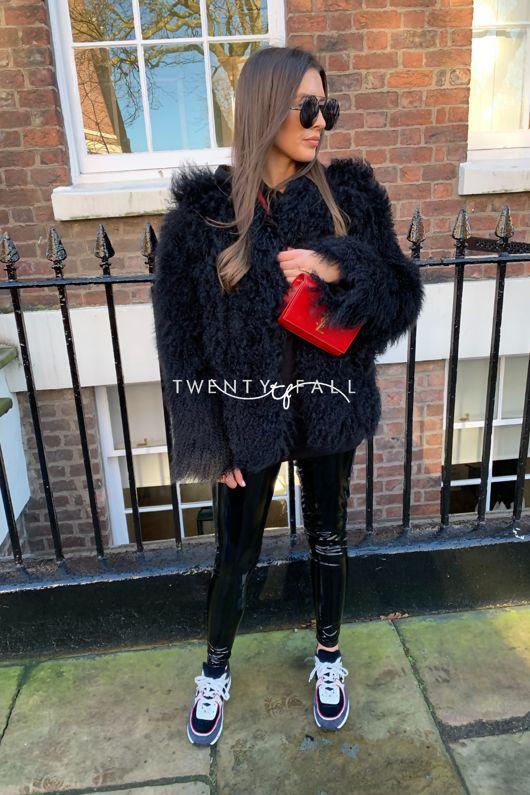 Black Mongolian Fur Coat