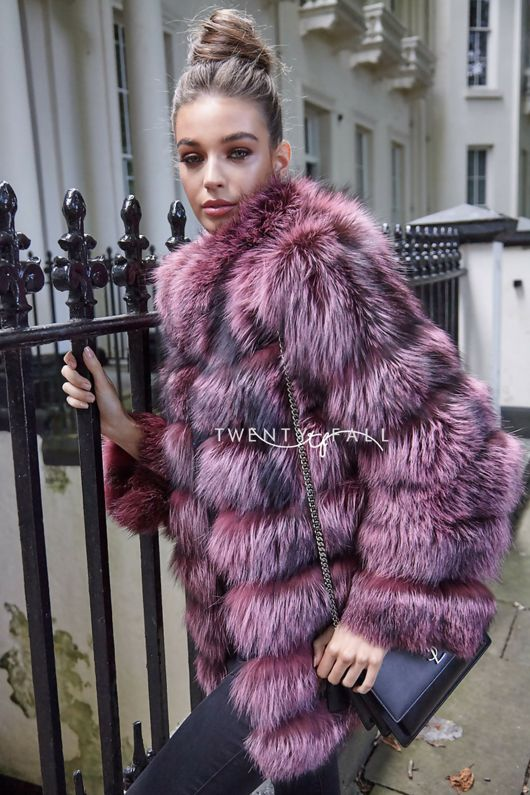 Pink Silver Fox 7 Ring Coat with Collar