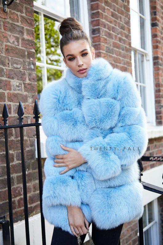 Lola Baby Blue Fox Fur Coat With Collar