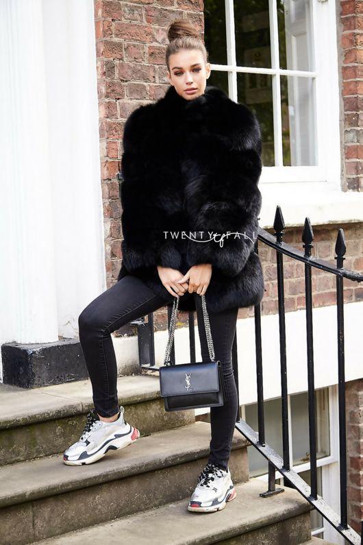 Lola Black Fox Fur Coat with Collar