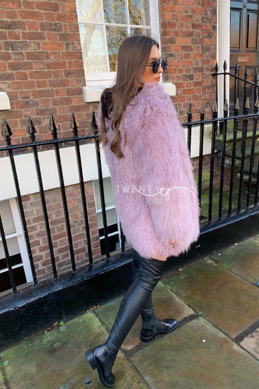 Dusky Pink Long Mongolian Fur Coat