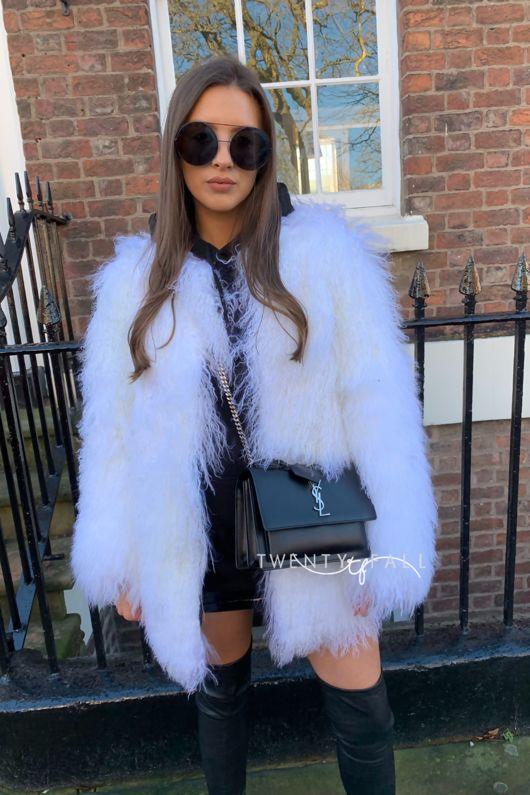 White Long Mongolian Fur Coat