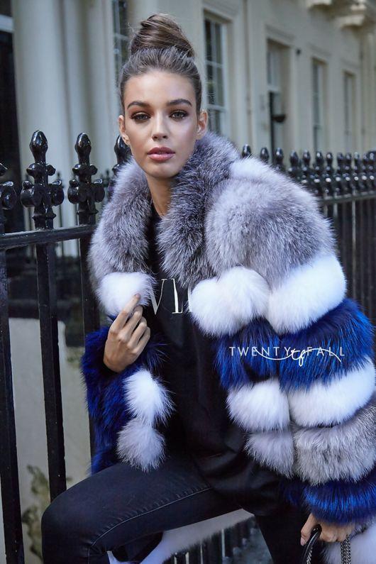 Blue & White Stripe 8 Ring Fox Fur Coat with Collar