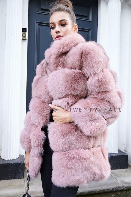 Lola Dusky Pink Fox Fur Coat with Collar