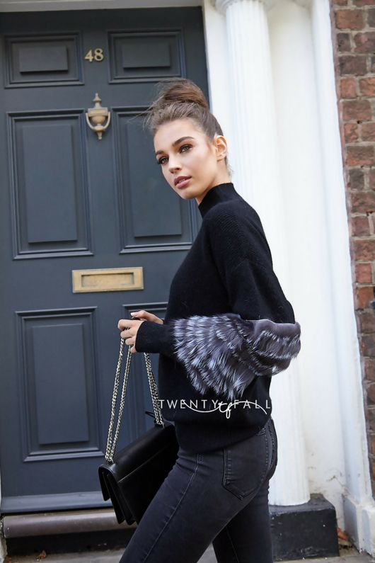 Black Wool Polo Neck with Silver Fox Fur Sleeves